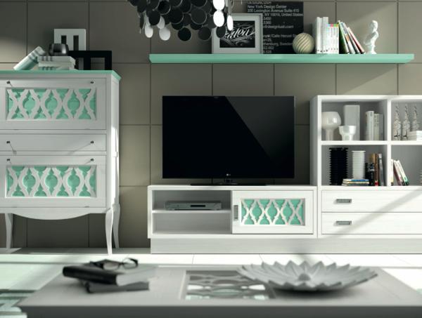 muebles saln blanco y verde