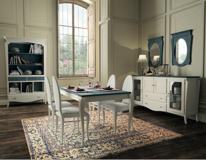 Muebles comedor colonial color blanco combinado.