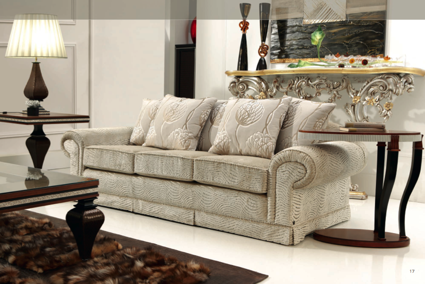 Sofá clásico brazo redondo color claro – Muebles Toscana Guinea